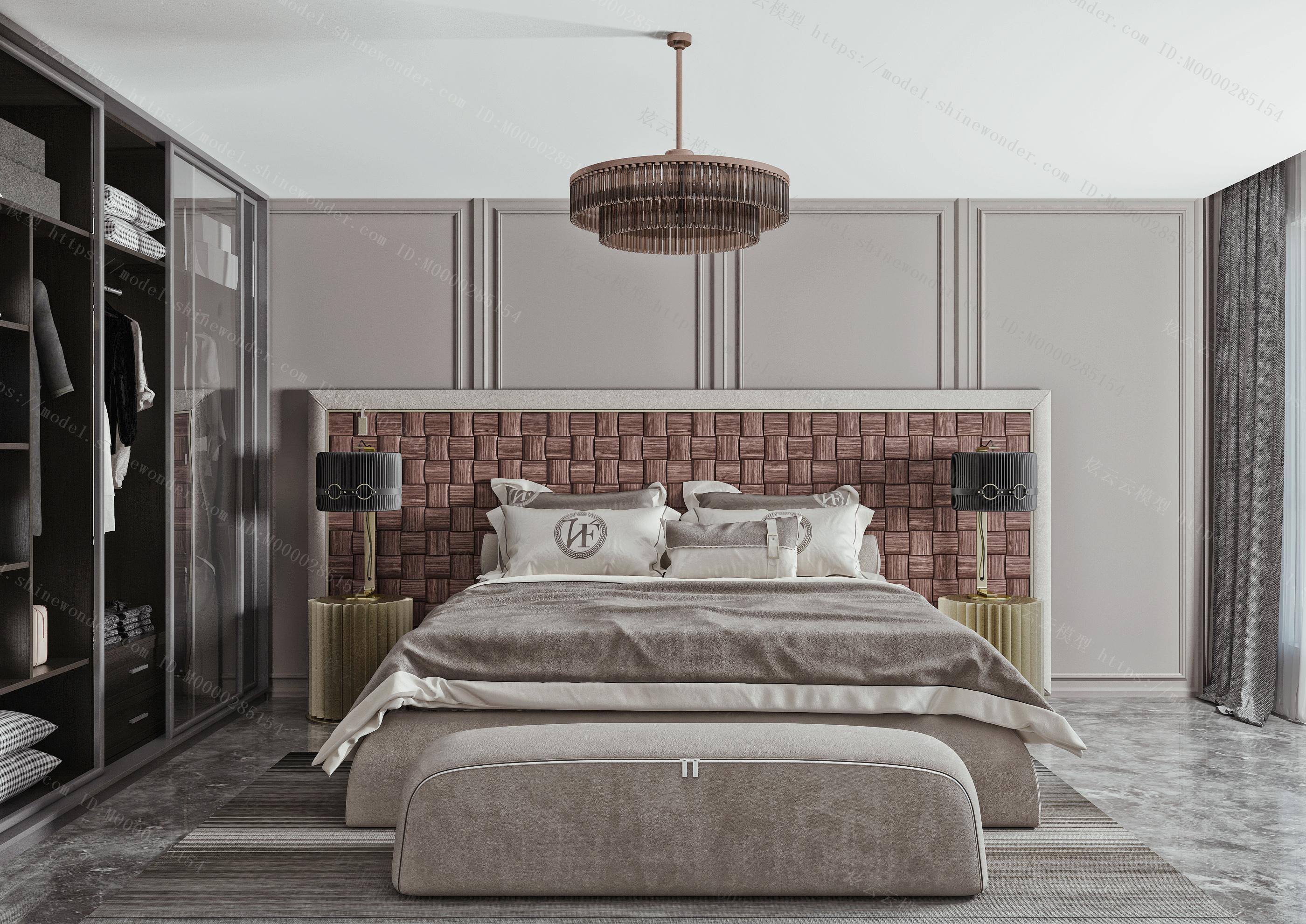 现代卧室  现代双人床品组合  床头柜模型