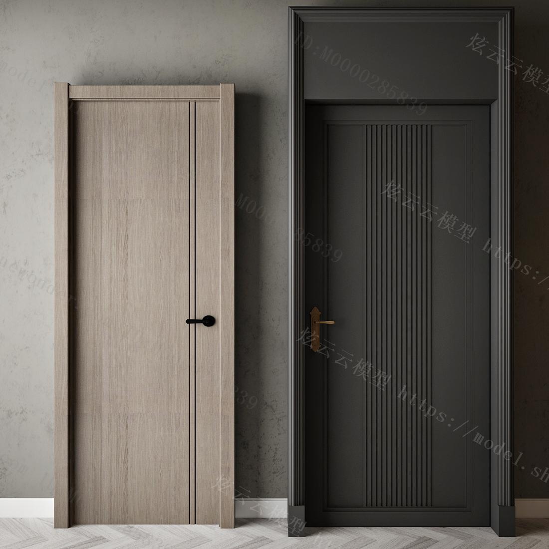 现代套装门模型