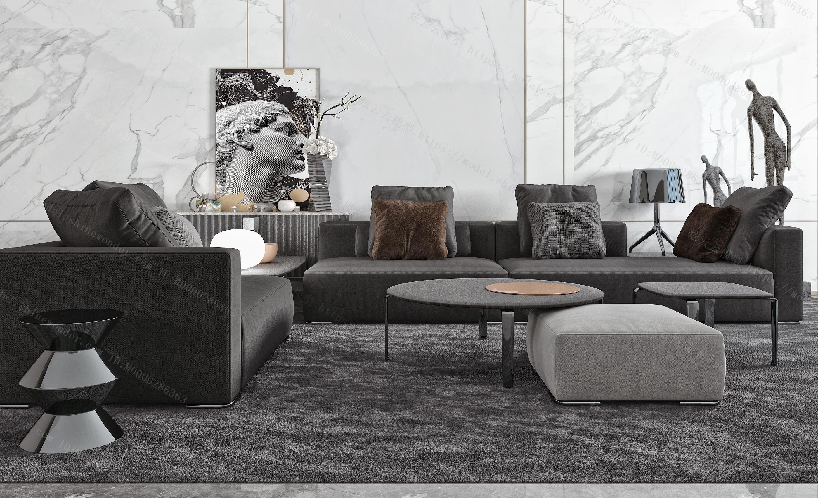 现代转角布艺沙发  圆凳 矮凳  黑白灰模型