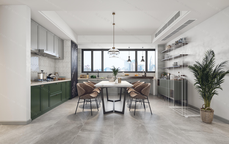 北欧客餐厅厨房组合模型