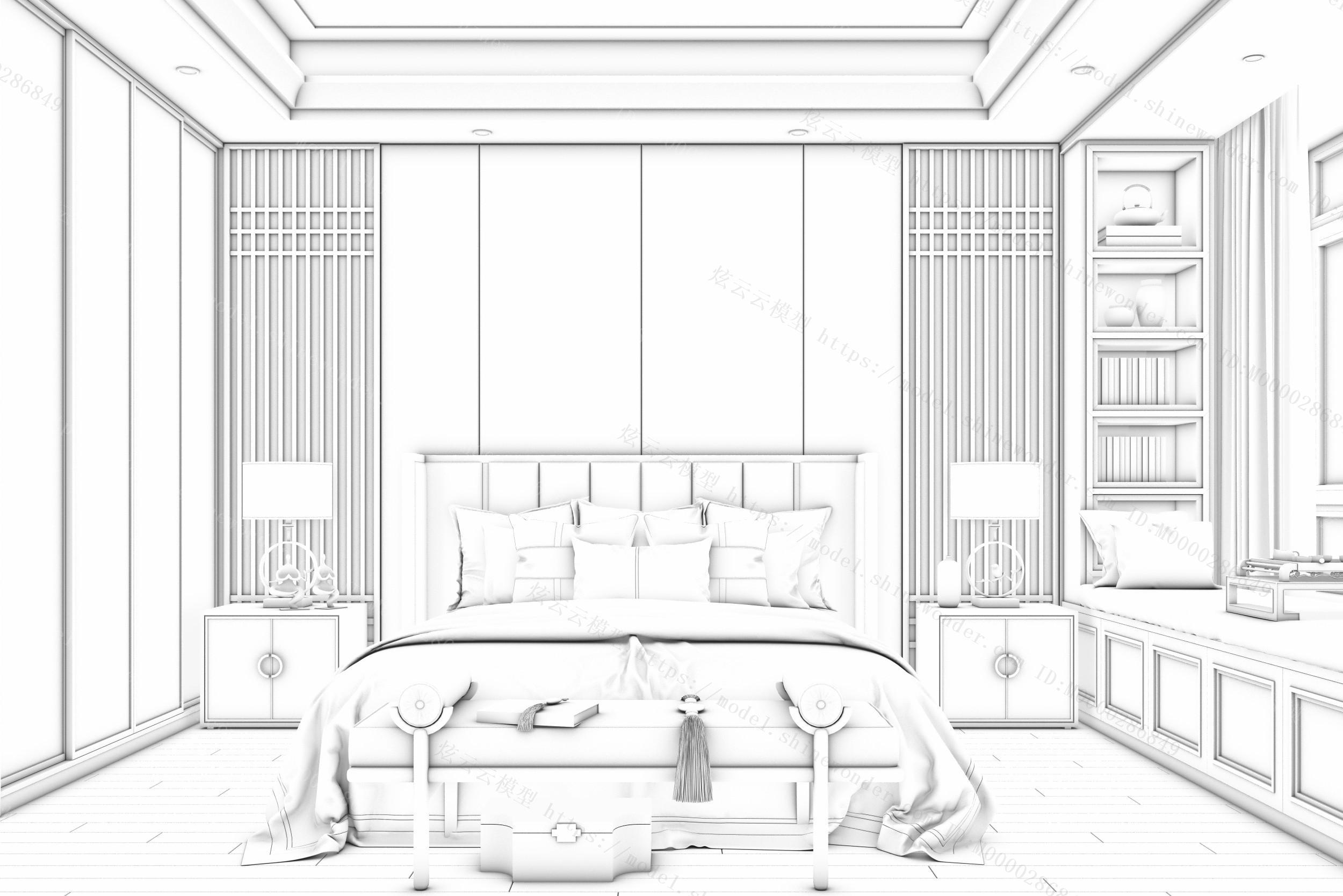 新中式主卧室模型