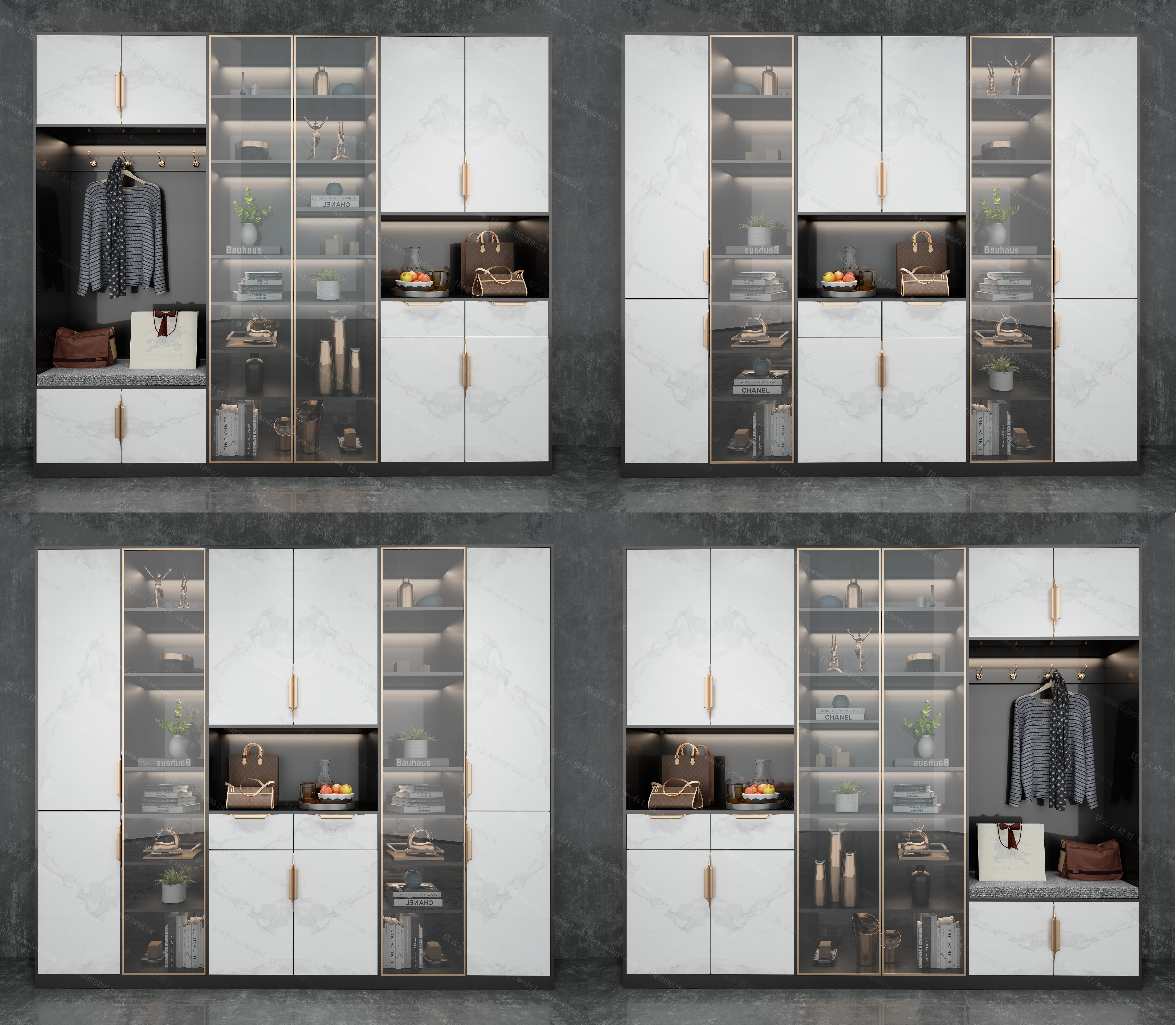 现代鞋柜装饰柜组合模型