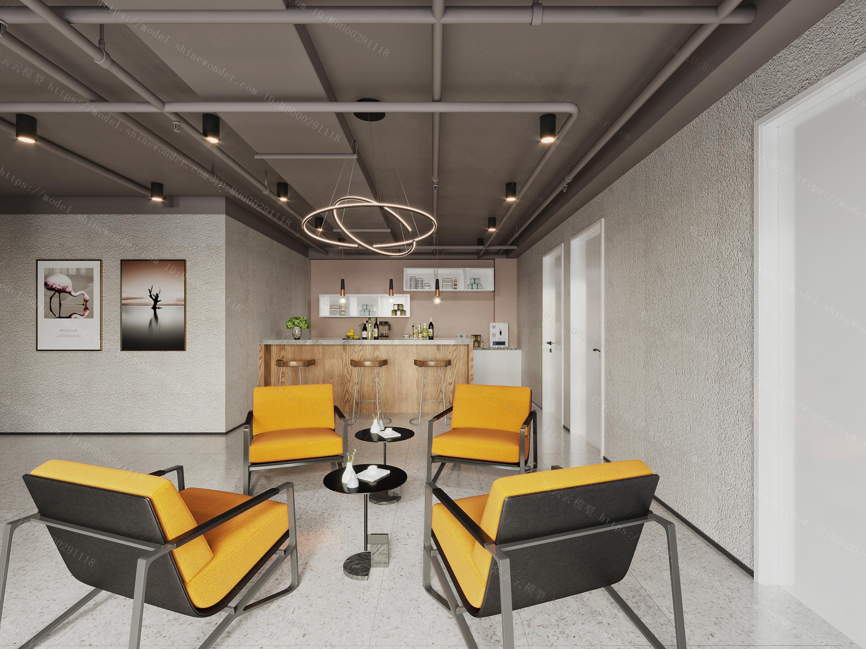 现代吧台区  茶水间  休息区  休闲桌模型