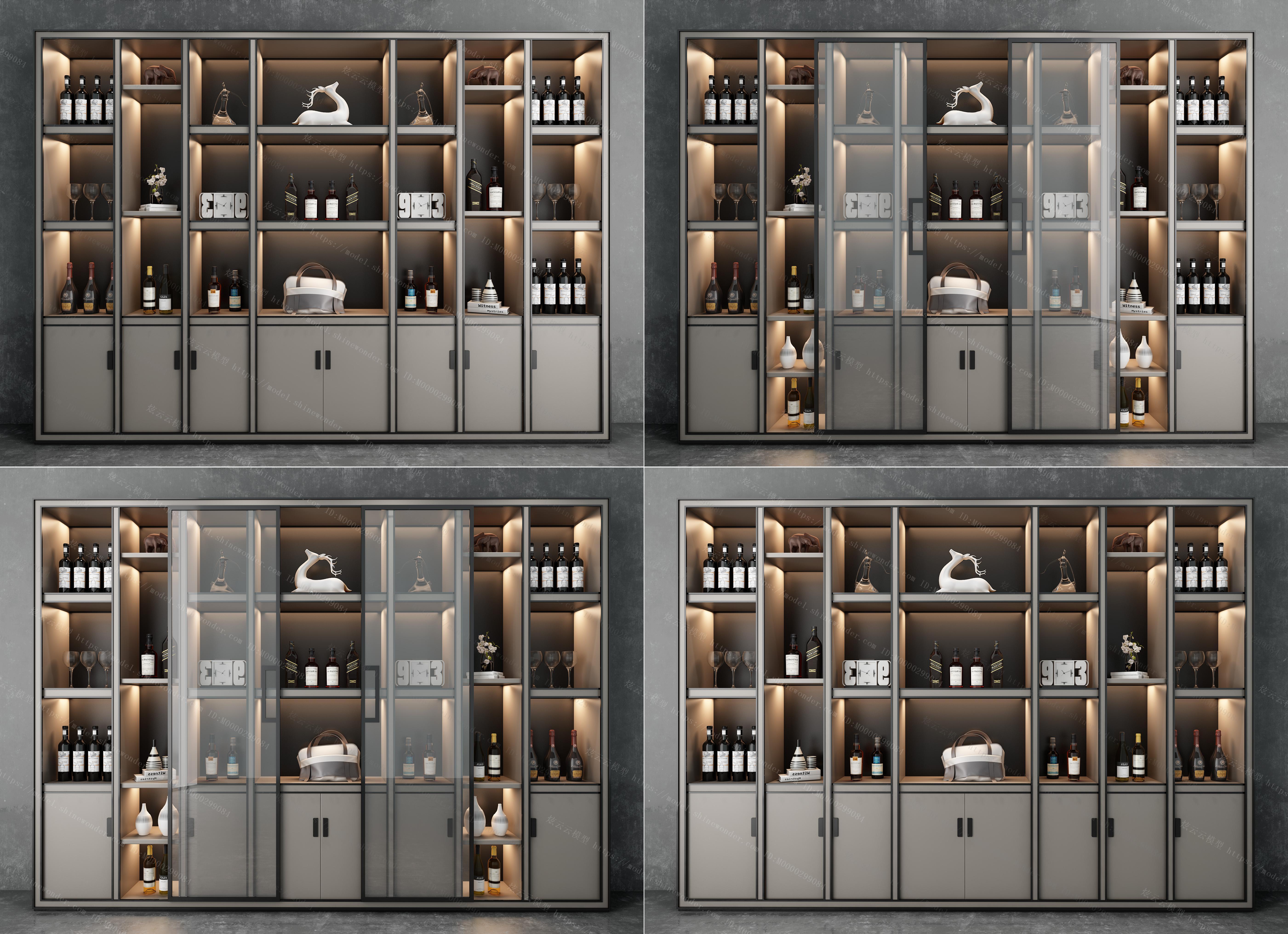现代轻奢装饰柜酒柜组合模型