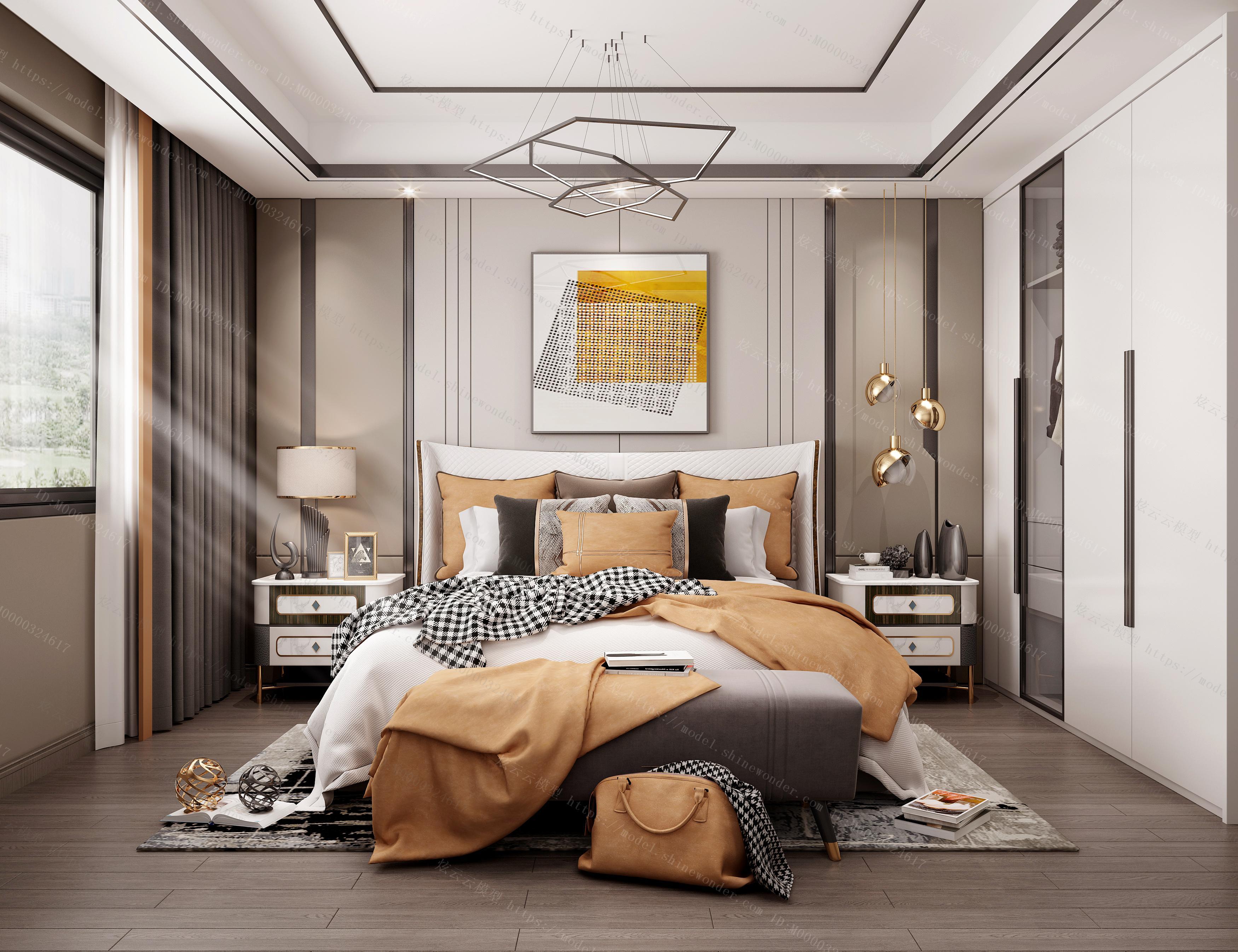 现代轻奢主卧室模型