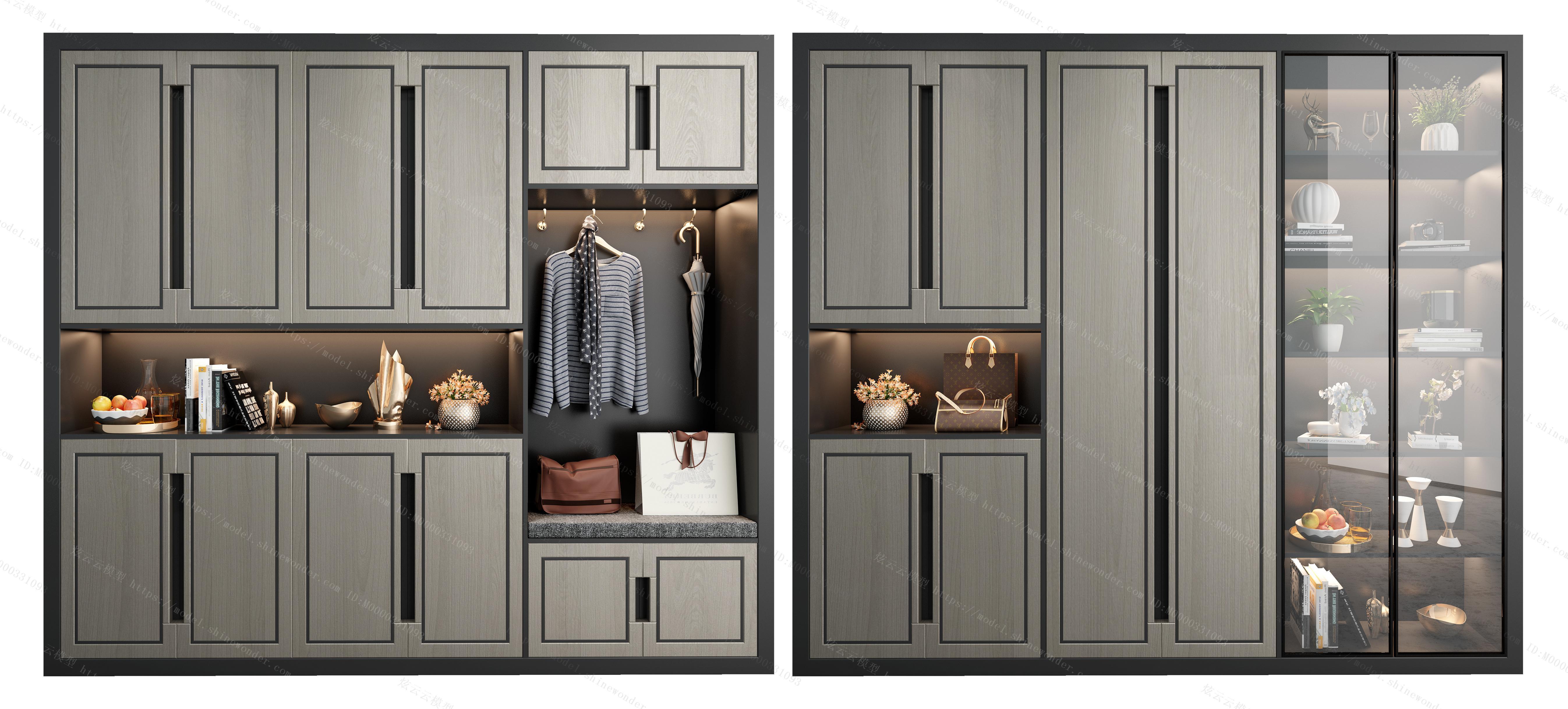 新中式鞋柜装饰柜组合模型