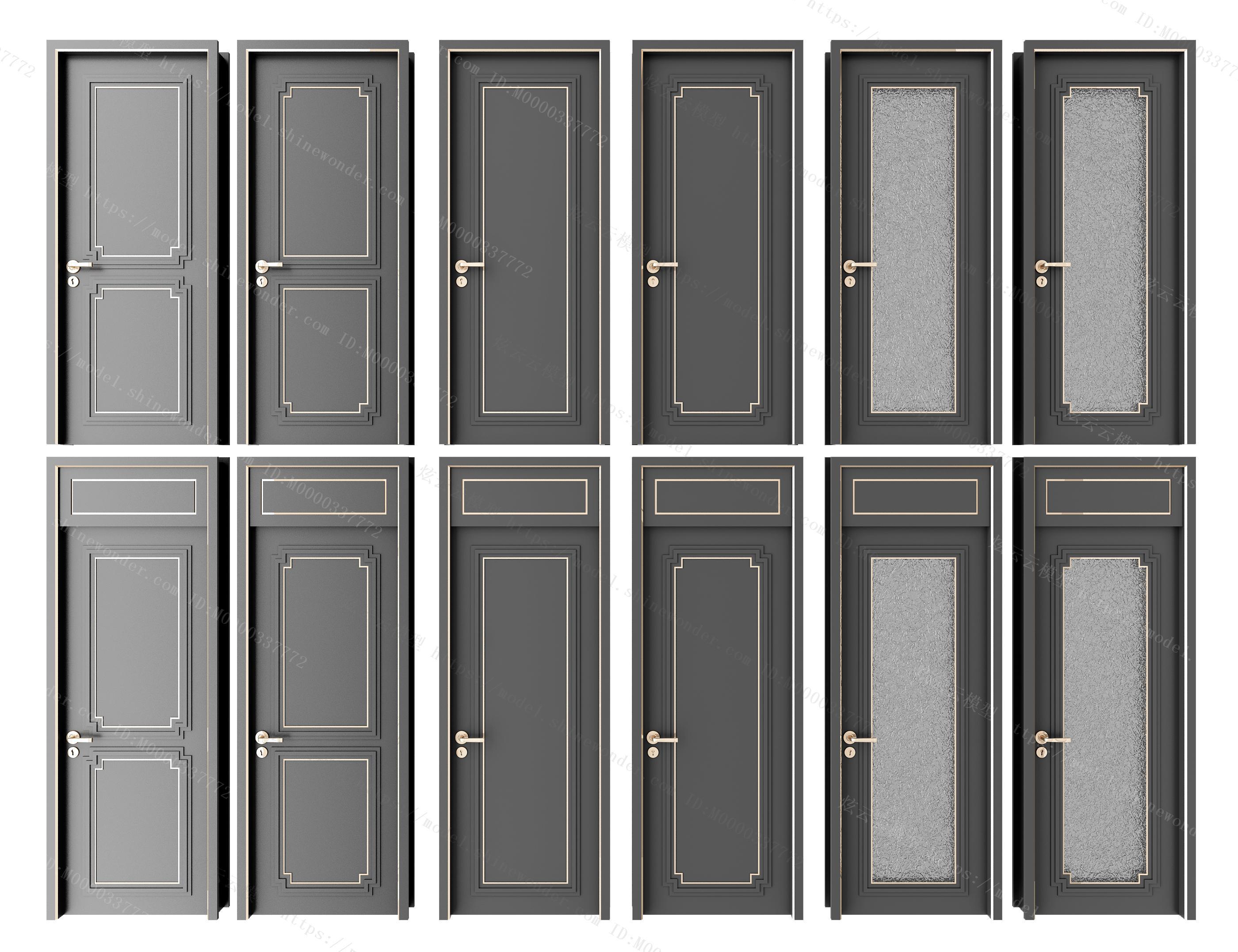 新中式房门卫生间门组合模型