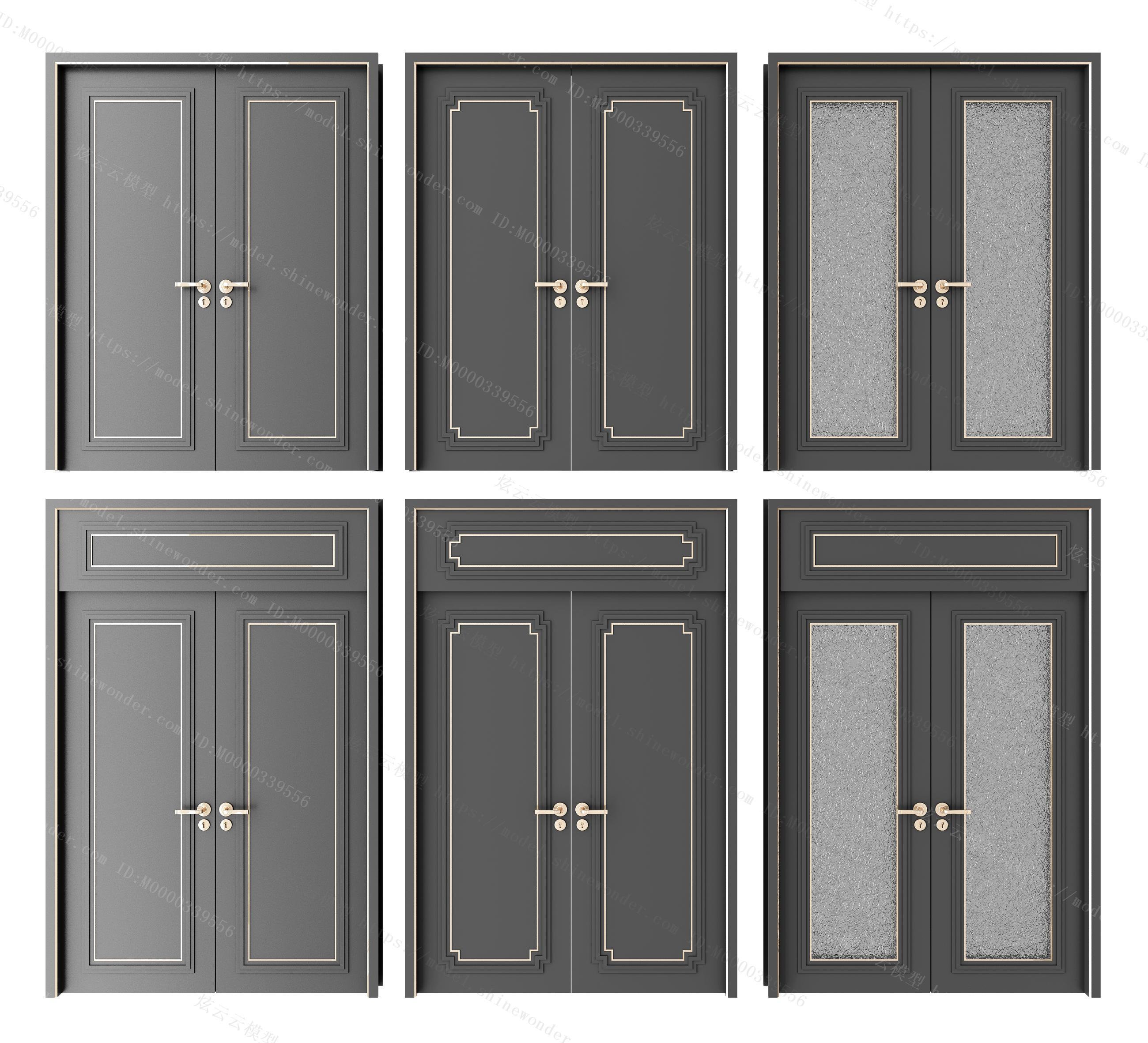 新中式双开门房门组合模型