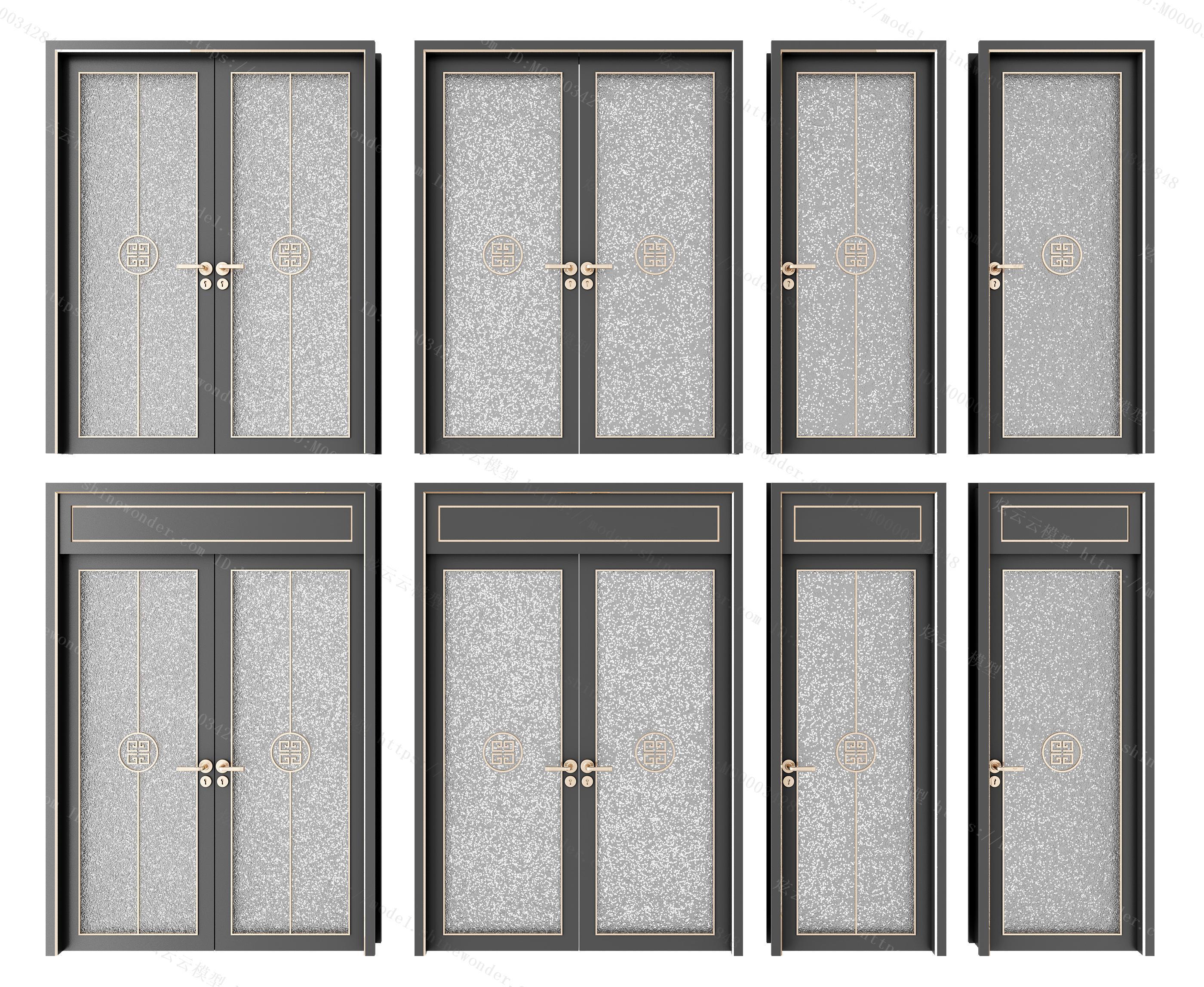 新中式移门卫生间门组合模型
