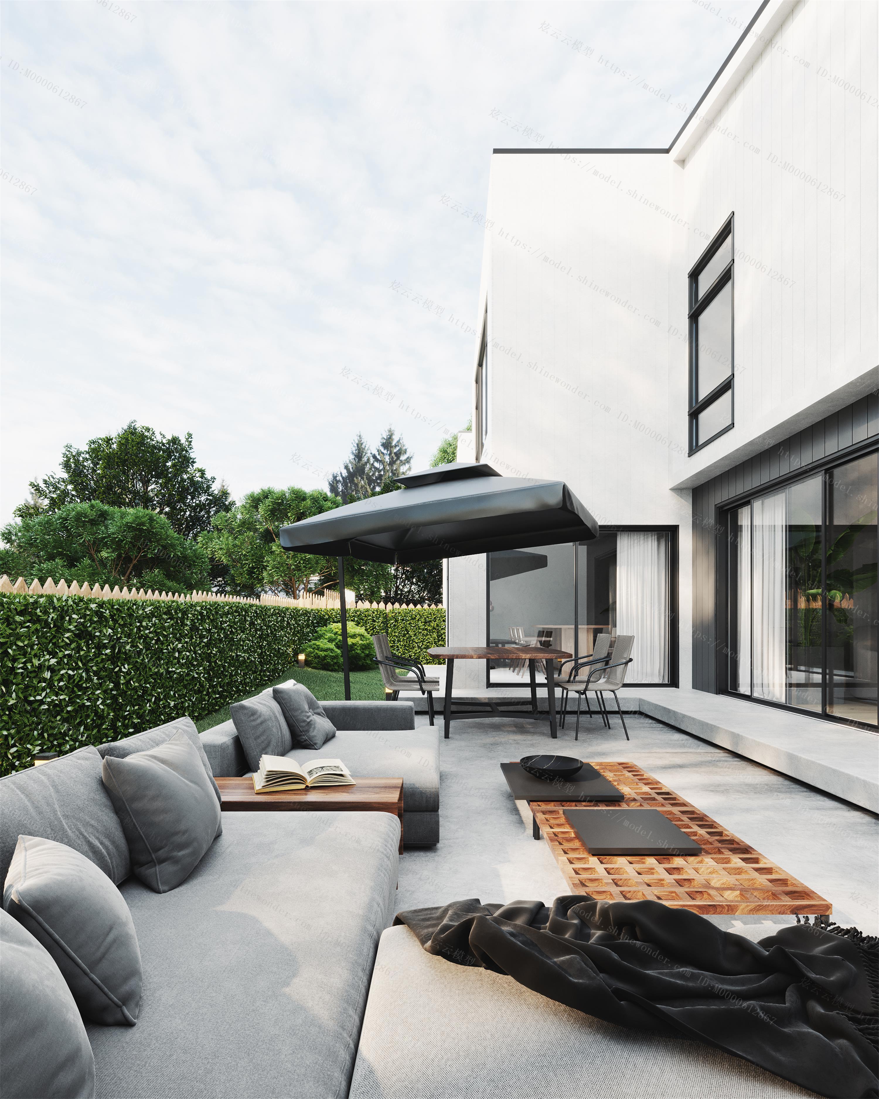 现代户外花园模型